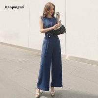 Solid Plus Size Jumpsuits Summer Women Black Blue Sleeveless O neck Full Length Elegant Office Party Playsuits Work Club Ladies