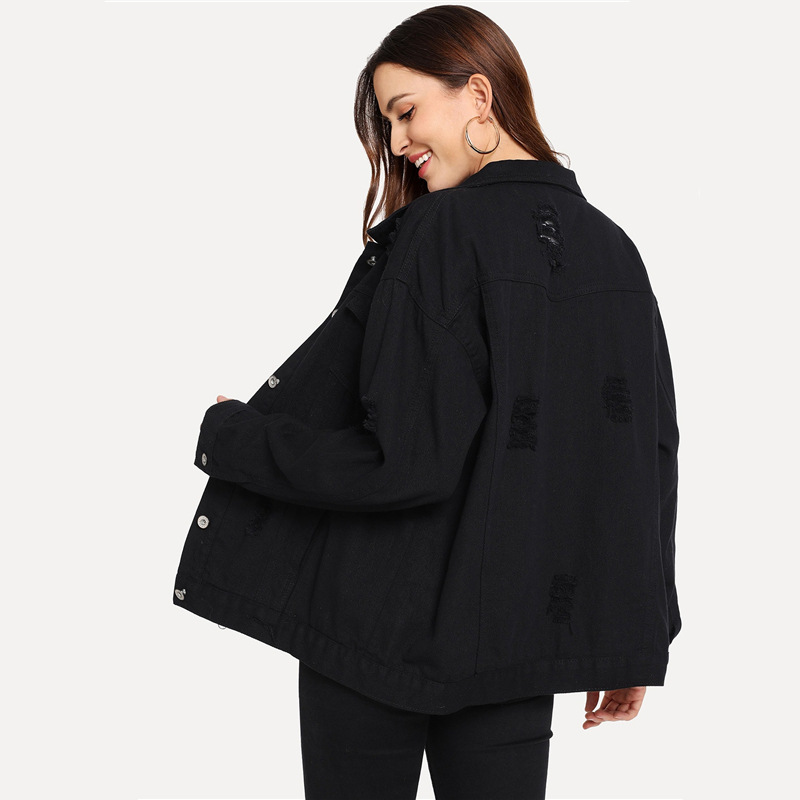 COLROVIE Ripped Drop Shoulder Women Denim Jackets Black White Oversize Purple Casual Female Jacket Coat Chic Jacket for Girls 17