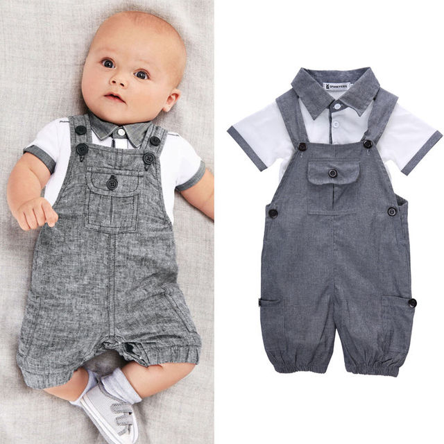 Newborn Baby Boys Shirt +suspender Pants Gentleman Cotton baby clothing Sets Summer Toddler Infant Boy Outifits Set 3