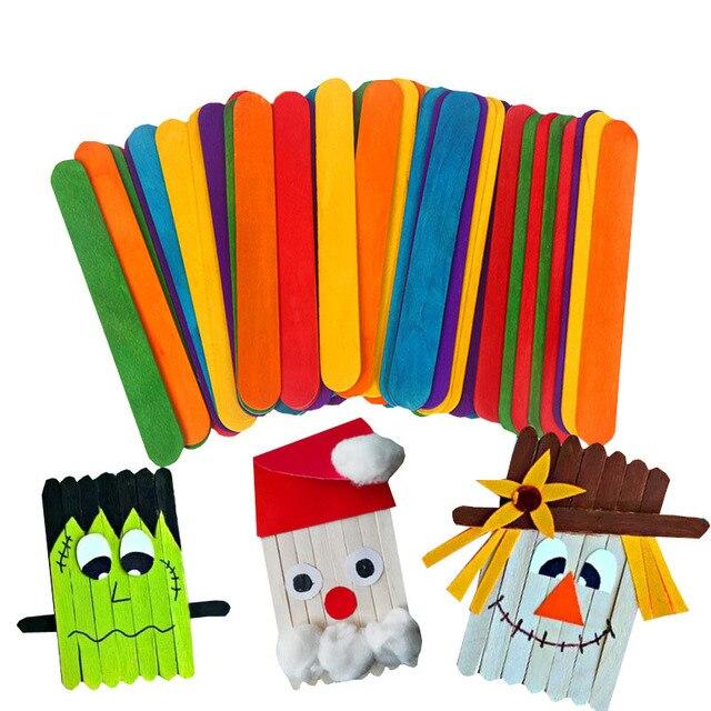 50 unidades/pacote Crianças DIY Kid Handmade Material De Sorvete Varas de Madeira Inacabado de Madeira Em Branco Criativo Decoração Fontes do Ofício