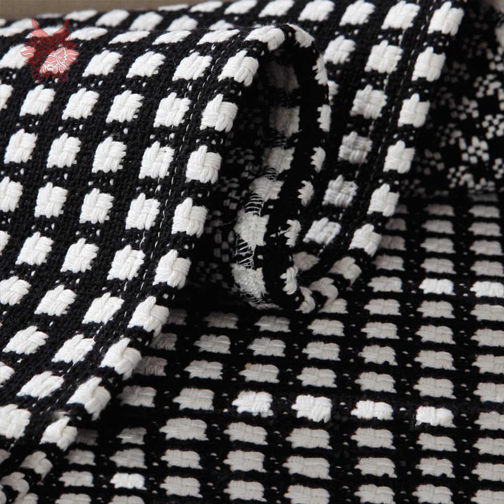 Black white plaid weaving cotton linen sofa cover sectional slipcovers canape couch furniture covers fundas de sofa SP4389