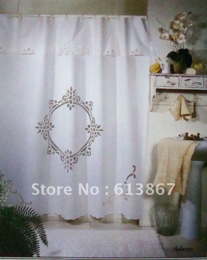 7072 Vintage Cotton Handmade Battenburg Lace Shower Curtain With HooksWhiteVictorian