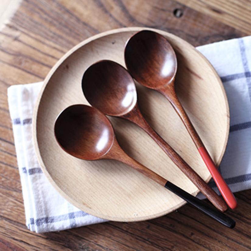 Children Healthy Baby Kids Food FeedingNatural Log Round Lipstick Rat Tail Small Wooden Spoon Soup Teaspoon Spoon