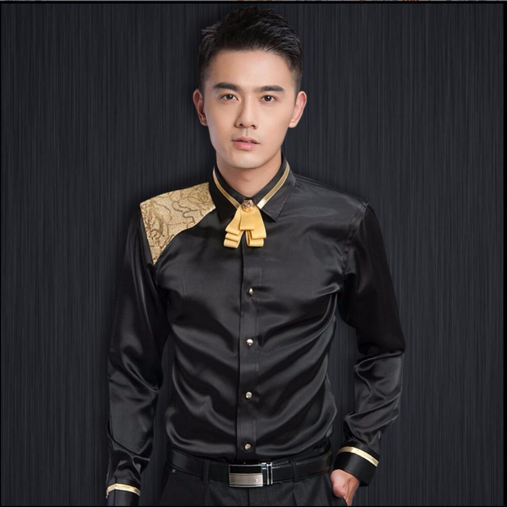 New Autumn And Winter Men Bow Tie Long Sleeve Shirts Clothing Ktv