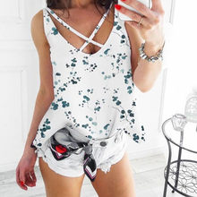 Women's Ladies Fashion Print Flower V Neck Sleeveless Blouse Top Vest 2019 Summer Clothes For Trends Women(China)
