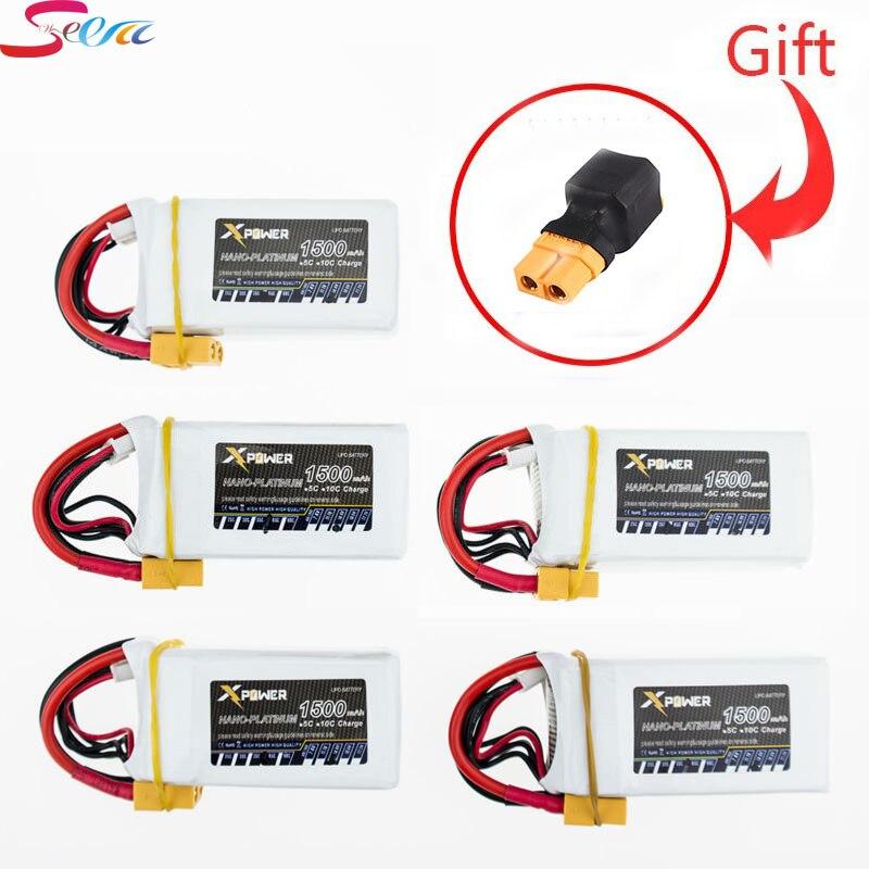 5pcs Xpower Lipo Battery 14.8V 4S 1500mah 45C Max 60C XT60 T EC5 Plug Lithium Batteries For RC Quadcopter Truck Car Boat Parts