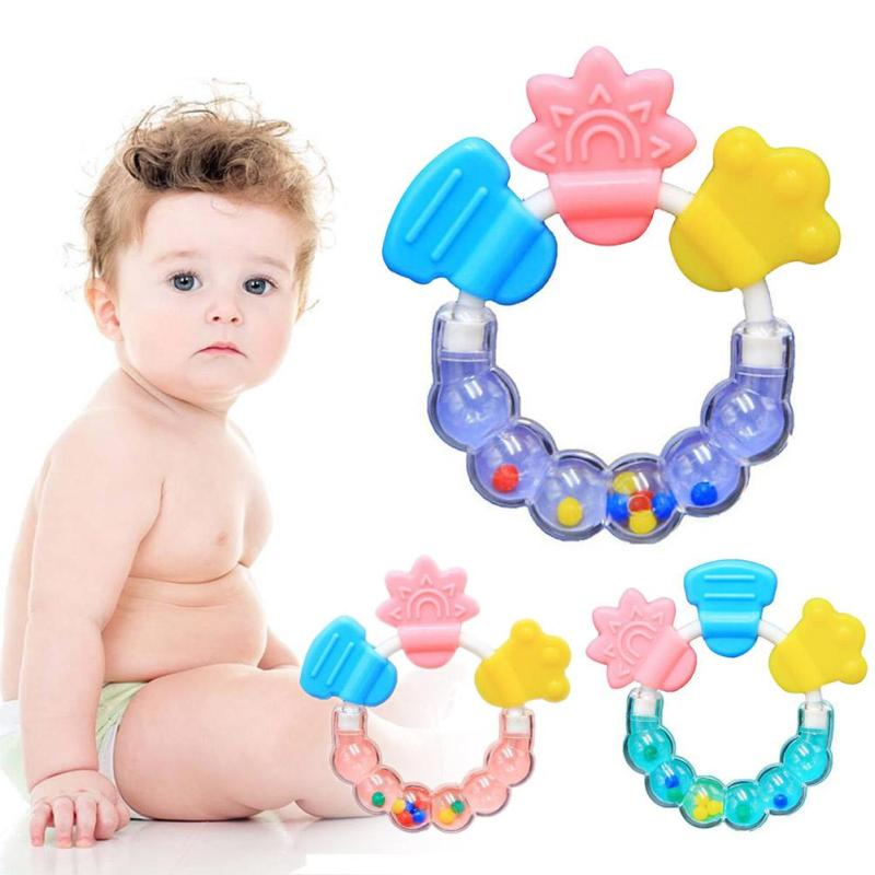 Baby Silicone Teether Round shape Baby Rattles Toys Infant Dental Care Biting Teething Teethers Circle Ring Teethers Gift B5