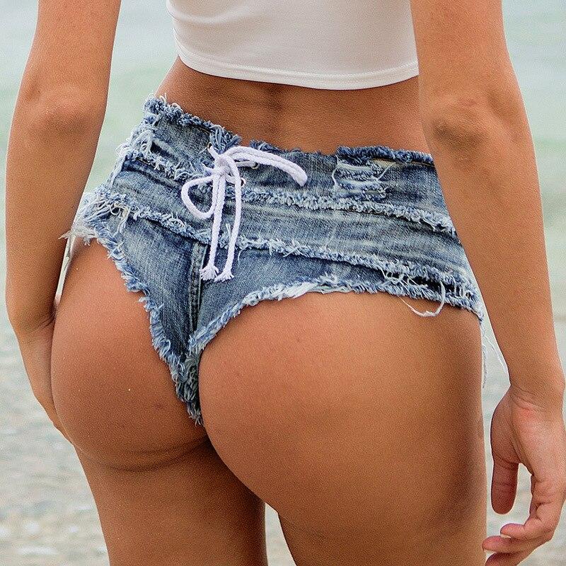 1pcs Women's Sexy super denim   shorts   2019 Summer denim cotton lace-up G-string   shorts   Ladies Skinny club super   short   jeans Girls