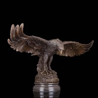 Arts Crafts Copper Durable Artworks Glede Vintage Brass Eagle Flying Sculpture Garden Decor Bronze Statue With Marble Base Hawk