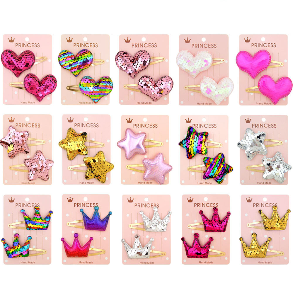 10 Pcs/Lot  Color Gradient Sequin Princess Hair Clips Children Shiny Star Crown Heart Hairgrips Hairpins Girls Hair Accessories