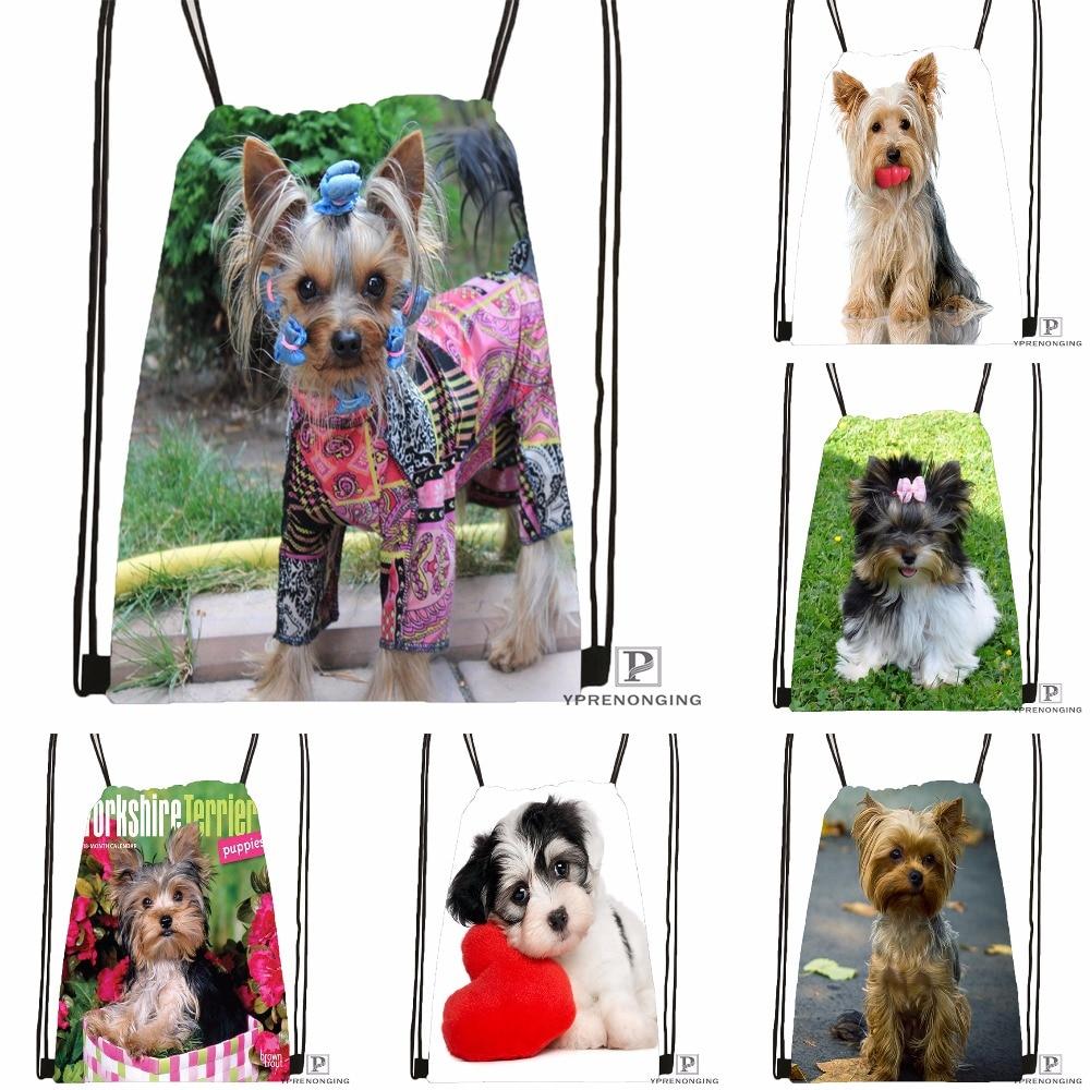 Custom Funny Yorkshire Terrier Drawstring Backpack Bag Cute Daypack Kids Satchel (Black Back) 31x40cm#180531-02-14