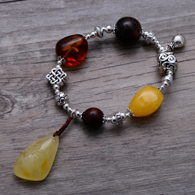 Fashion 925 Sterling Silver Vintage Nature Beeswax & Amber Bracelet Women Thai Silver Gift Jewelry CH058321 fashion 925 sterling silver vintage nature beeswax