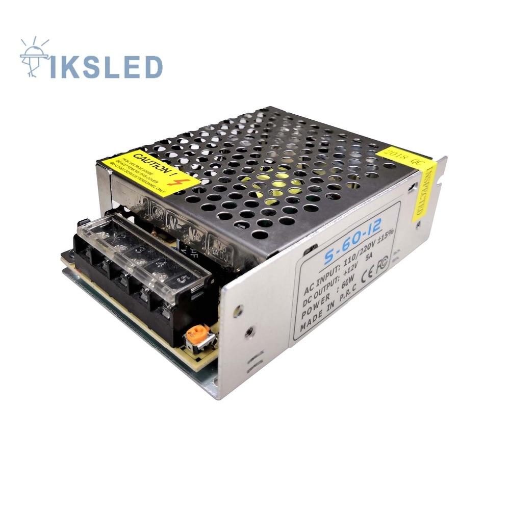 specialerbjudande Belysningstransformator DC12V 5A 60W 110 / 220V till 12V LED Driveromkopplare strömförsörjning Adapter för LED-ljuslist