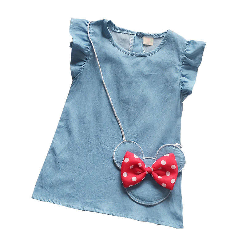fca969d9615 Bibicola летнее хлопковое платье для девочек Для детей Детские мультфильм джинсовые  платья цельнокроеное платье Одежда