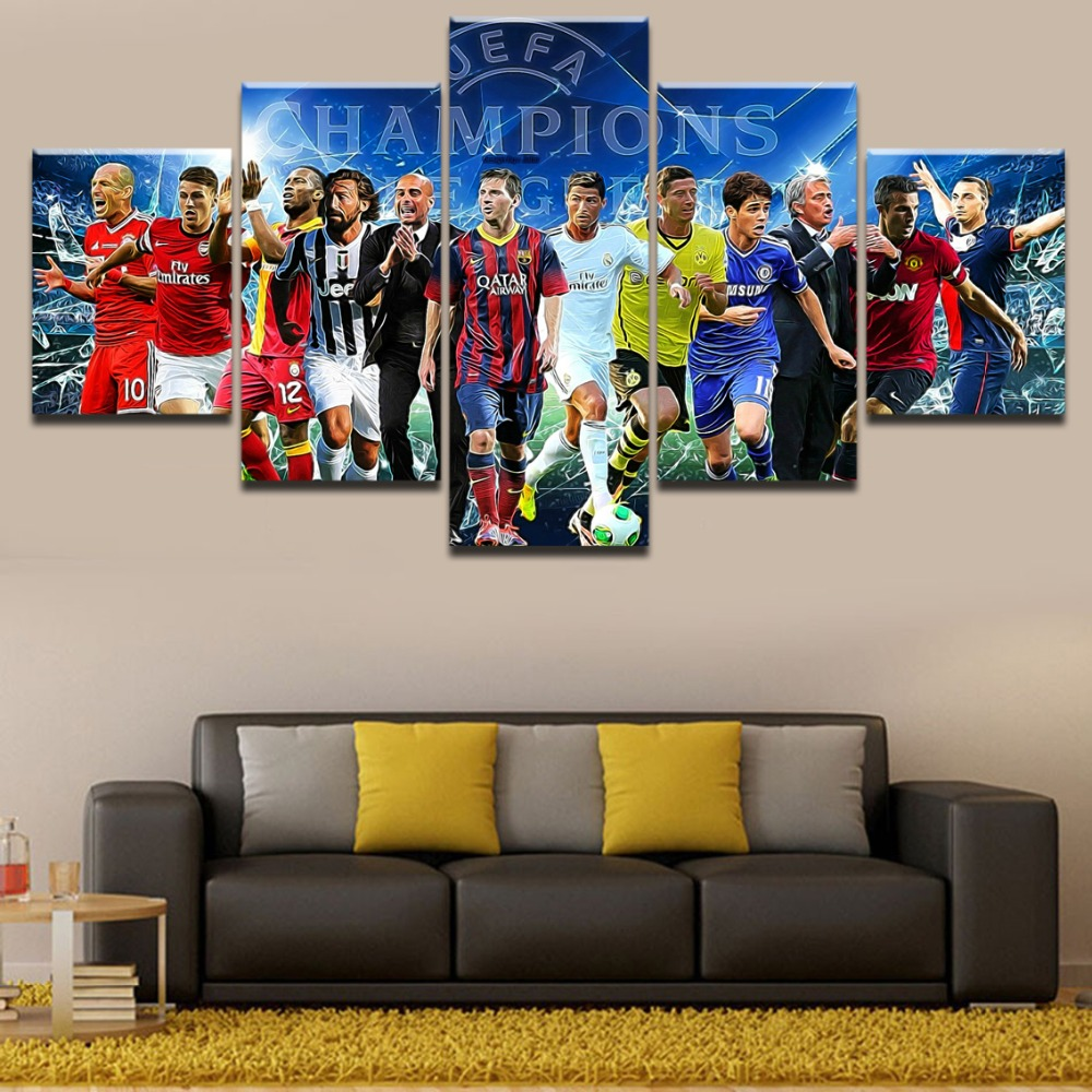 5 Pieces Sports Uefa Champions League Painting Canvas Print Picture For Modern Decor Bedroom Living Room Home Wall Art Decor