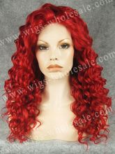 Rizada larga resistente al calor cosplay peluca roja del frente del cordón sintético peluca roja