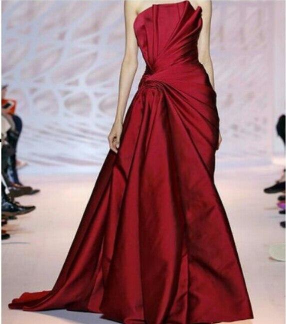 2015 Mermaid Satin Evening Dresses Strapless Court Train Dubai Arabia Styles Evening Gowns