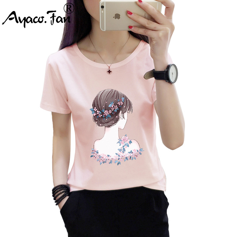 Hot Short Sleeve T-Shirts 2019 Summer New Cute O-Neck Print Women T-Shirt For Girls Students Female Casual Loose Lady Tops Tees
