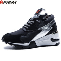 Asumer Black New Arrival Four Seasons Round Toe Casual Sneakers Shoes Lace Up Wedding Shoes Comfortable