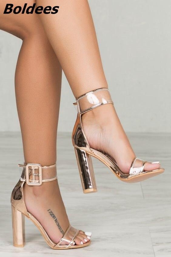 Просто линии пряжки Стиль черная замша на не сужающемся книзу массивном Сандалии на каблуке пикантные туфли с открытым носком на прозрачно... - 2