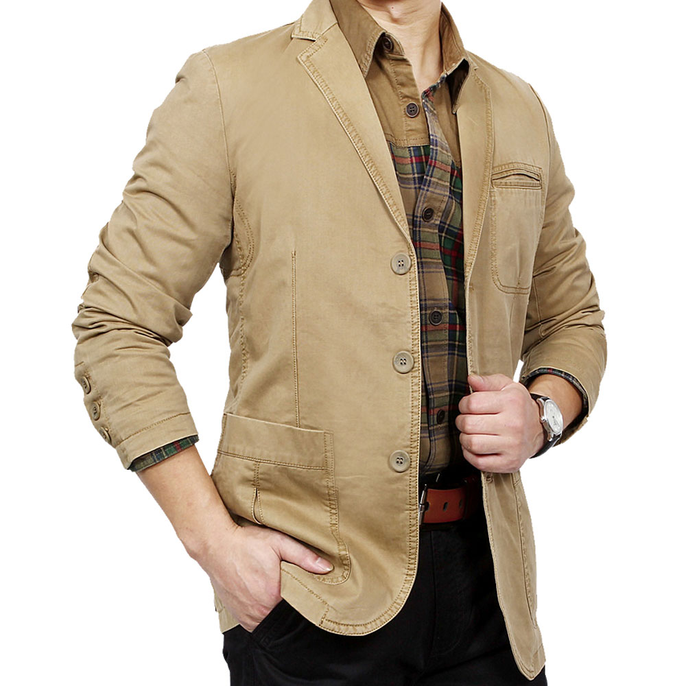 Mens khaki jacket casual - High Quality S 4xl Men S Jacket Casual Brand 100 Pure Cotton Khaki Blazer Coat Man Spring Suit Coats Male Black Slim Blazers In Blazers From Men S Clothing