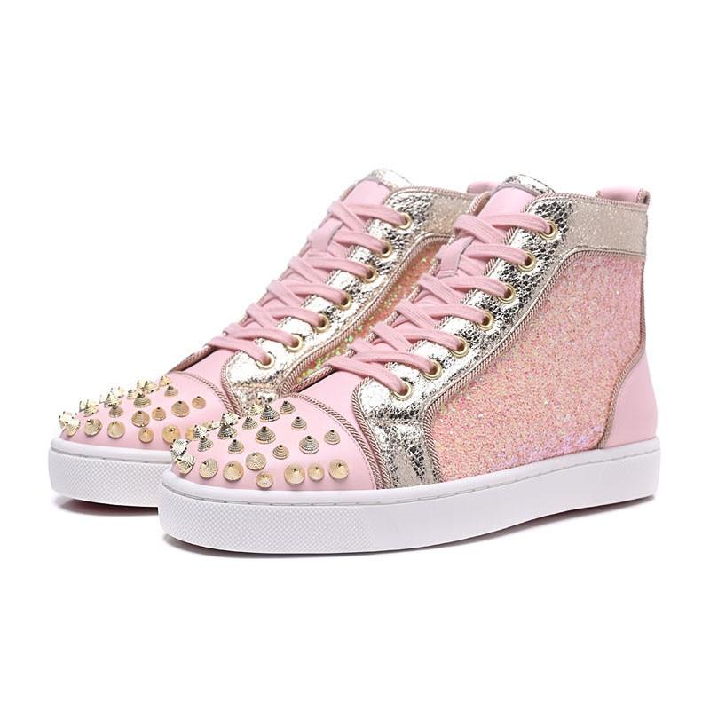 Chaussures Haute Pointes Ruban De À Top Semelles Luxe Compensées Femme Pour Blingbling Décontractées Sneakers Femmes Rose Glitter LqcAjR354