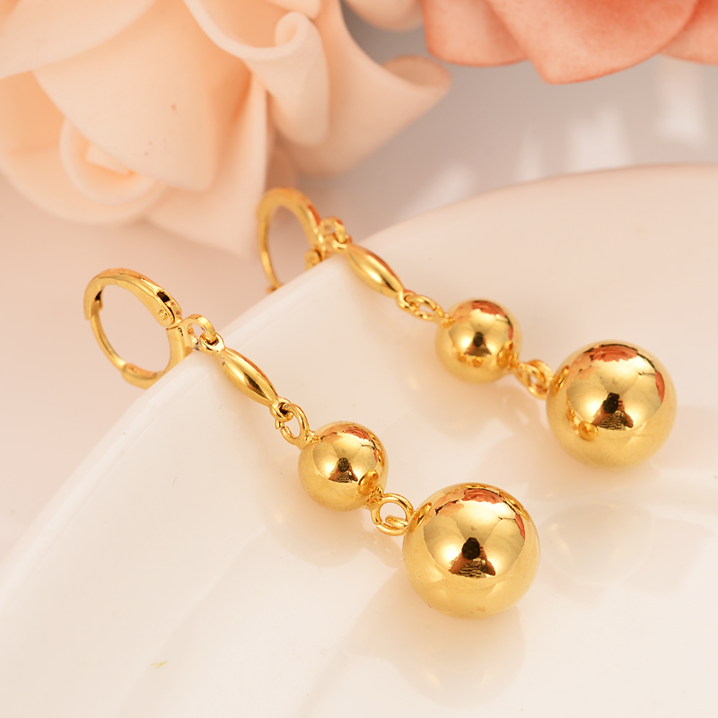 lovely ball Earrings 24K Gold drop Earings For Women Girls african Jewelry Wedding Party Cool Fashion beads earrings kid gift(China)