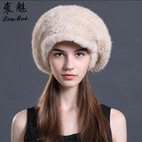 со скидкой норковая шапка берет вязаная шапка для женщин зима 2292