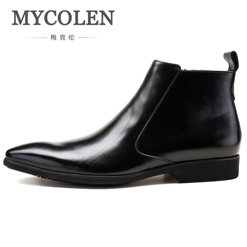 MYCOLEN Chelsea Boots 2018 Winter Pointed Toe Genuine Leather Men Shoes Winter Business Ankle Boots Blue Botas Mujer Invierno red men wedding dress shoes pointed toe ankle boots genuine leather botas hombre cowboy military boots metal decor men flats