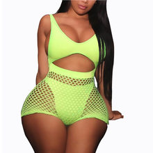 Fishnet Mesh Neon Swimsuit Two Pieces Swimwear High Waisted Monokini Tanga Swimming Suit For Women Beachwear Thong Swim Suit(China)