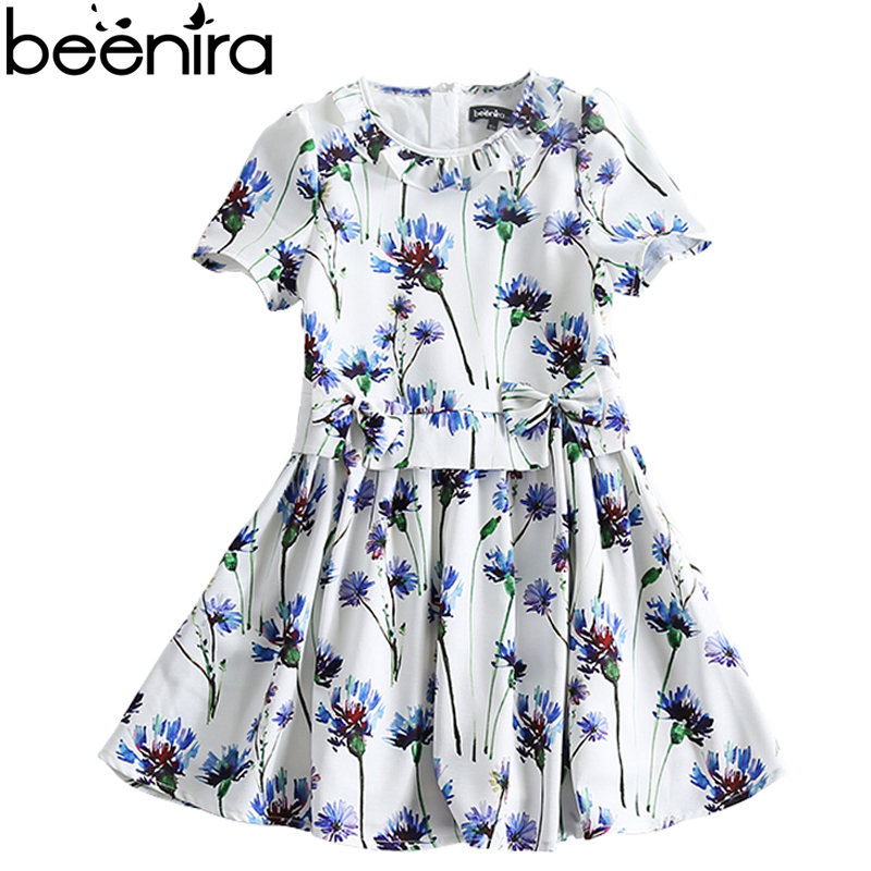 Beenira Children Clothes Dresses 2017 New Summer Fashion Style Girls Flower Pattern Bow Princess Dress For 4-14y Baby Girl Dress new baby girls clothes fashion style dress for girl polka dot dresses white bowknot shirts children clothing set girls costume