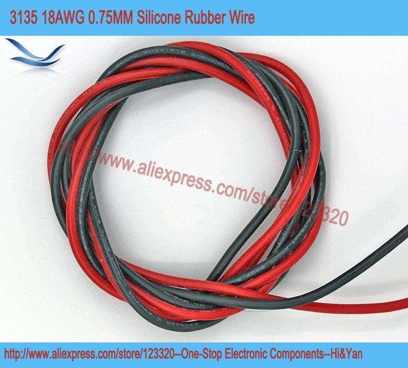 4 метра/лот 18AWG 0.75мм 3135 провод в силиконовой оболочке  до 600В 200 градусов Цельсия. 2 метра красного цвета и 2 метра черного цвета.