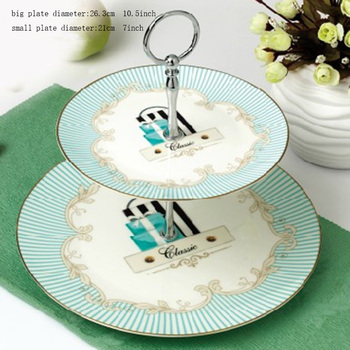 Brief Sky Blue Stripe Pattern Ceramic Bone china Afternoon Tea Pastry Plate Double Layer Platinum Fruit Tray Snacks Dish Shelf