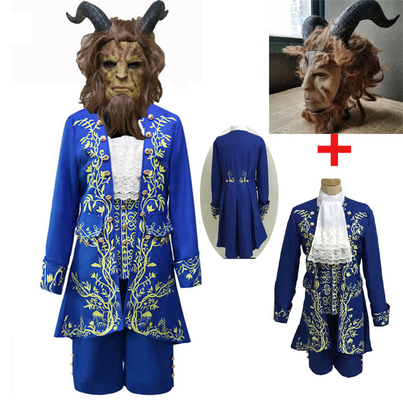 Movie Beauty And The Beast Cosplay Costumes Adult Prince Adam Costume/mask For Men Belle Princess Dress Halloween Carnival Party