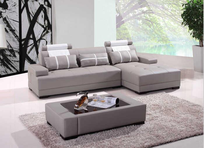 Модные угловые диваны для кожи угловые диваны с современный дизайн кожаный диван L форма входит кофейный столик