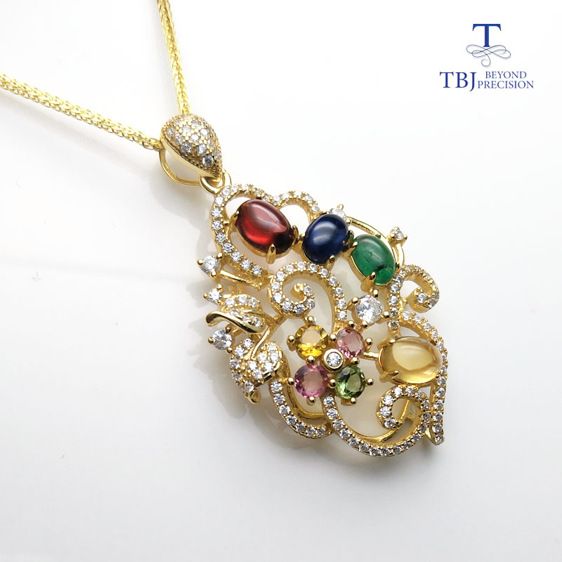 TBJ,S925 silver flower pendant with natural fancy color tourmaline and natural emerald sapphire garnet citrine,jewelry for womenTBJ,S925 silver flower pendant with natural fancy color tourmaline and natural emerald sapphire garnet citrine,jewelry for women