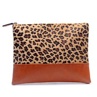 Short Fur Cheetah PU Faux Leather Cosmetic Bag Women Clutch Patchwork Makeup Purse With Leopard Print