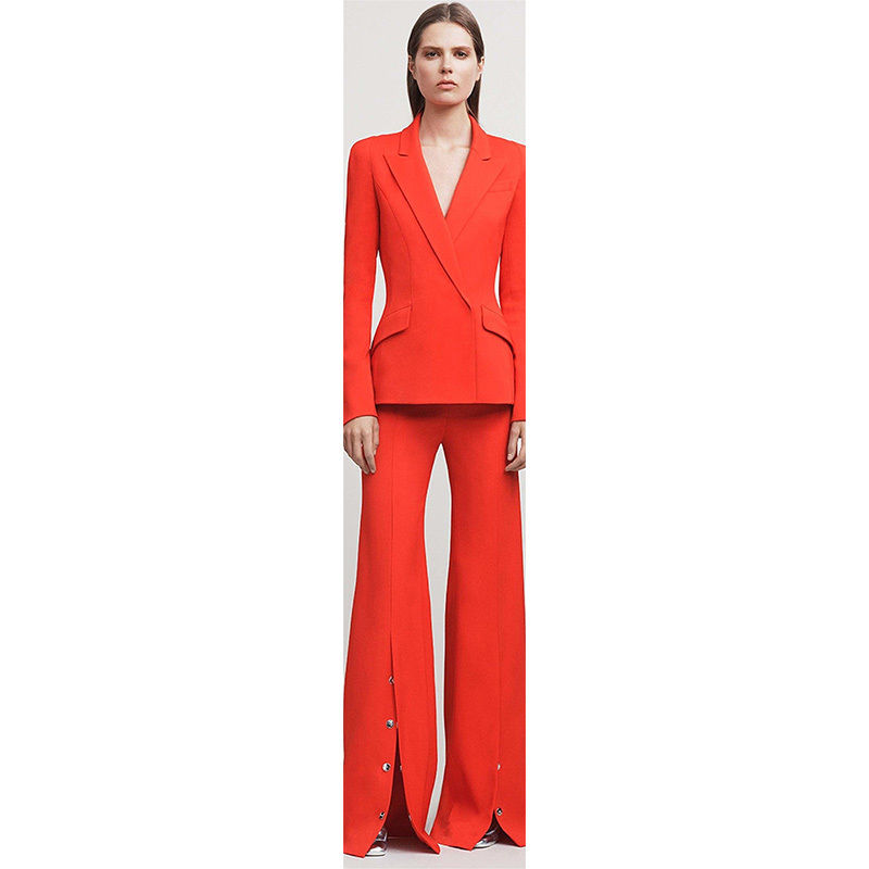 Fashion Style Red Female Office Uniform Bell-bottomed Pants Womens Business Suits 2 Piece Pantssuits B78
