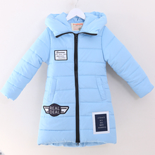 2017 winter children's clothes padded coats long section thicken warm baby girl hooded coats for girls kids jackets outerwears