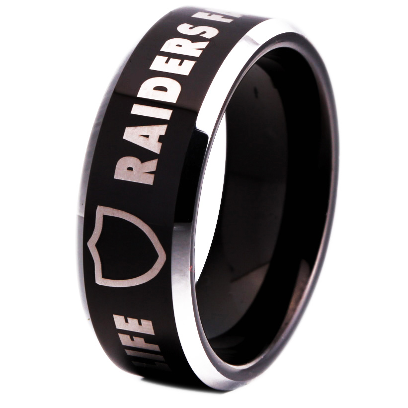 Free Shipping Customs Engraving Ring 8MM Black With Shiny Edges Raiders Fan For Life Design Men's Tungsten Wedding Ring