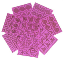 DIY Stamping Tool Pink Color Nail Vinyles Nail Art For Polish Printing Beauty Manicure Guide Creative Decal WY376-WY383