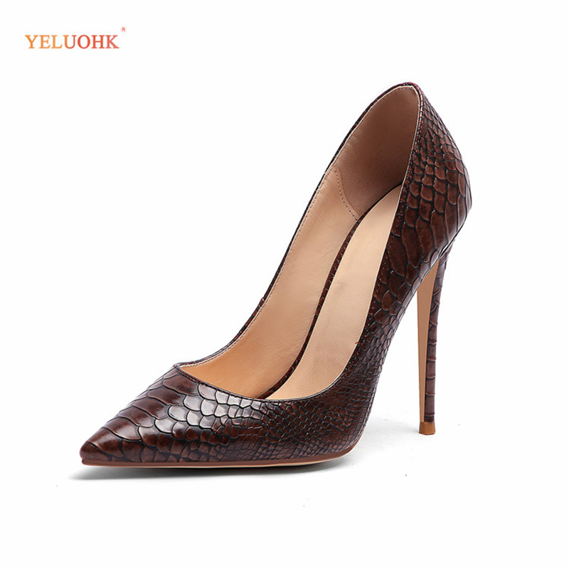 Echtem Frauen Plus brown Leder 12 pink Schlange Stil Pumpen Cm 45 2019 Frühling 34 Schuhe Ferse yellow High Black gray Größe Heels Damen 5aqtnxw