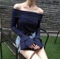 Personalidade do vintage camada dupla flare camisa de manga fino fenda decote sem alças cor sólida da longo-luva t-shirt feminina