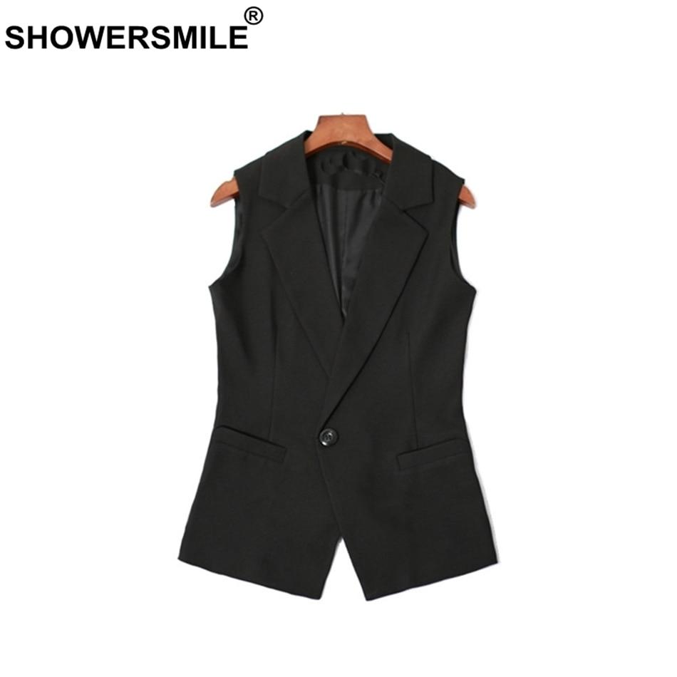Femmes Pour De Féminin Sans Manche Fit Lady Noir Black Blazer Court Les Costume Office Showersmile Gilet Veste Printemps Slim 0zXHWnEqqa