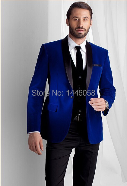 2016 New Fashion Royal Blue Velvet Jacket Groom Tuxedos Black ...