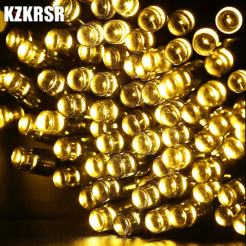 KZKRSR 22M 200 Led Fairy Garland Indoor Outdoor IP67 Waterproof LED Solar String Light For Outdoor Wedding Christmas 4 colors pe plastic led ceiling ball light indoor 16 colors waterproof for indoor outdoor