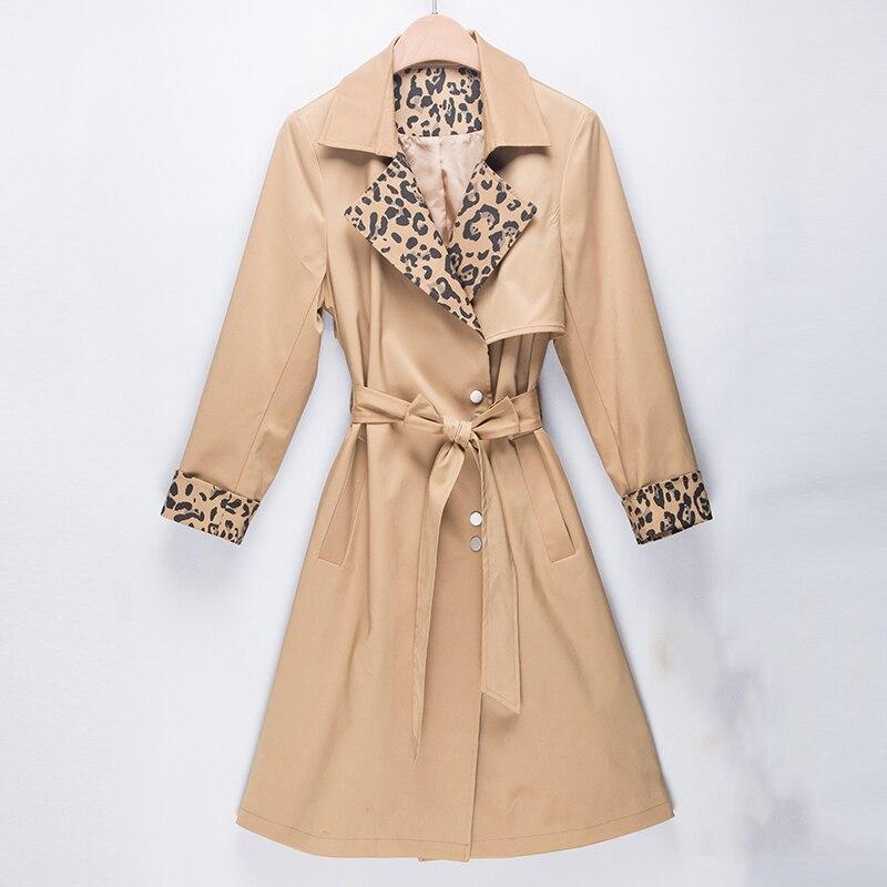 Trench   coat for women High Grade Quality Overcoat women long Elegant fashion Leopard splice coats female casual windbreaker coat