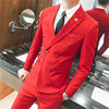 3 Pcs Set Men S Wedding Dress Three Piece Suits Fashion Solid Color Double Breasted Suit