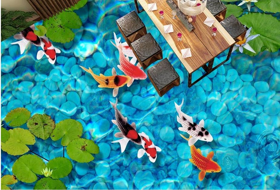 high quality 3d floor painting custom pvc self adhesive wallpaper Pebbles carp 3d floor murals waterproof wallpaper for bathroom high quality pvc tile flooring custom self adhesive waterfalls lotus carp 3d floor murals bathroom kitchen wallpaper 3d floor