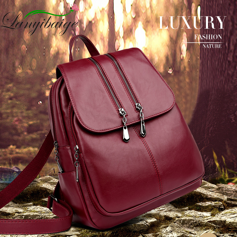 Women Leather Backpacks High Quality 2019 Female Vintage Backpack Travel Shoulder Bag Mochilas Feminina School Bags For Girls
